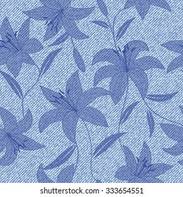 Beautiful seamless  hand drawn pattern with denim jeans background, pattern can be used for wallpaper, pattern fills,surface textures