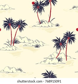 Beautiful seamless island pattern  background. Landscape with palm trees,beach and ocean vector hand drawn style.On light pink Background.