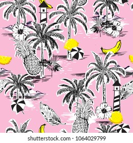 Beautiful seamless island pattern. Landscape with palm trees,fruit,hibiscus flower,banana,orange,beach and ocean vector hand drawn style on light pink color background.