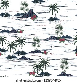 Beautiful seamless island pattern . Landscape with palm trees,beach and ocean vector hand drawn style on white color background.