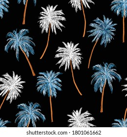Beautiful seamless island pattern on black . Landscape with palm trees,beach hawaiian and ocean vector hand drawn style. Design for fashion , fabric, web, wallpaper, wrapping ,and all prints