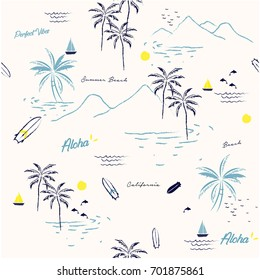 Beautiful seamless island pattern on white background. Landscape with palm trees,beach and ocean vector hand drawn style.