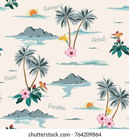 Beautiful seamless island pattern on light beige background. Landscape with palm trees,beach and ocean vector hand drawn style.