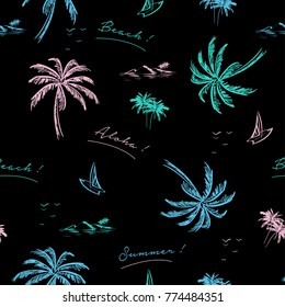 Beautiful seamless island pattern on black background. Landscape with colorful neon color palm tree,beach and ocean vector hand drawn style.