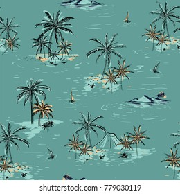 Beautiful seamless island pattern on green mint background. Landscape with palm trees,beach and ocean vector hand drawn style.