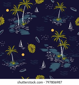 Beautiful seamless island pattern on dark blue background. Landscape with palm trees,beach and ocean vector hand drawn style.