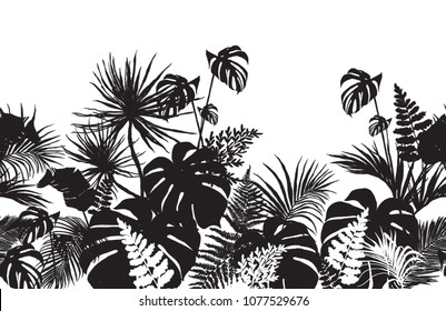 Beautiful  seamless line horizontal pattern background  with jungle  silhouette coconut palm trees, banana trees, tropical leaves. Monochrome vector flat illustration isolated on white background.