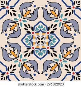 Beautiful seamless ornamental tile background. Italian style