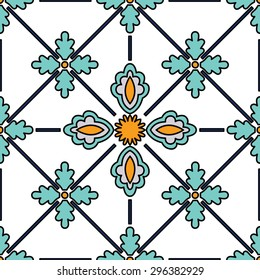 Beautiful seamless ornamental tile background vector illustration. Italian style