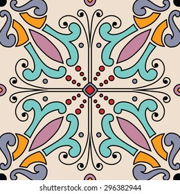 Beautiful seamless ornamental tile background in Italian style