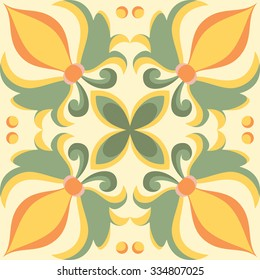 Beautiful seamless ornamental tile background. Vector illustration. Italian style