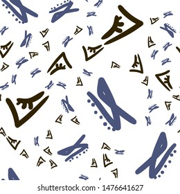 Beautiful Seamless pattern with Abstract figures dark Brown and Desaturated blue color. Can be used for printing on packaging, bags, cups, laptop, box, etc. Pattern under the mask. Vector.