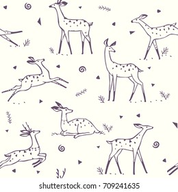 Beautiful seamless pattern background with gorgeous stylized deers. Amazing wallpaper for your design. Vector illustration
