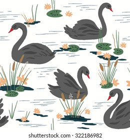 Beautiful seamless pattern with black swans on the lake. Vector illustration