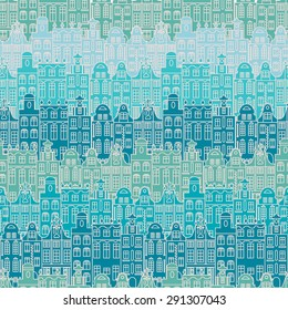 Beautiful seamless pattern in blue colors with buildings in old European style. Vector illustration for fabric design, web design, wallpaper, travel templates and other.