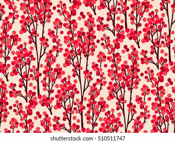 Beautiful seamless pattern. Christmas seamless pattern with holly red berries. Christmas floral pattern. Branches on a white background - winter concept, christmas - vector illustration