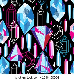 Beautiful seamless pattern with colorful crystals on a dark abstract background