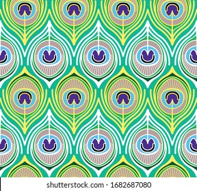 Beautiful seamless pattern. Colorful peacock feather with eyes. Vector illustration.