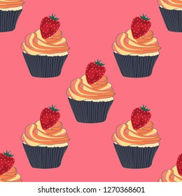 Beautiful seamless pattern with cupcakes and strawberries on a pink background.