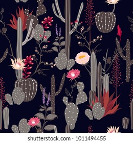 Beautiful seamless pattern dark color cactus with jungle flowers. Bright illustration, can be used for creating card, invitation card for wedding,wallpaper and textile on navy blue background