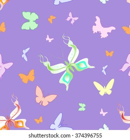 Beautiful seamless pattern of different butterflies