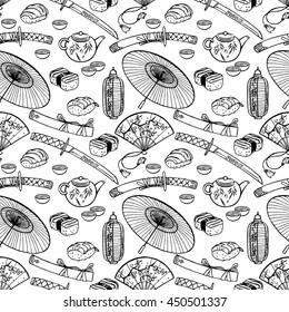 beautiful seamless pattern of different Japanese symbols. hand-drawn illustration