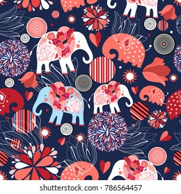 Beautiful seamless pattern enamored elephants on a dark ornamental background