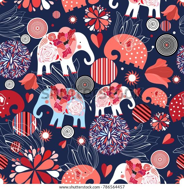 Beautiful seamless pattern enamored elephants on a dark ornamental background