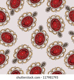 Beautiful seamless pattern with fashion jewelry elements