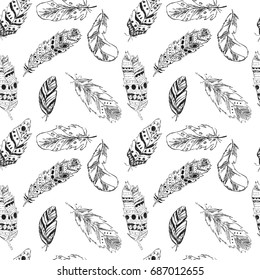 Beautiful Seamless Pattern With Feathers In Boho Style Black And White Colors Sketch Vector