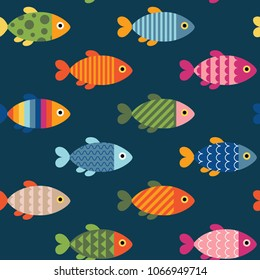 Beautiful Seamless Pattern with Fish Icons. Vector Illustration. Cartoon Style. Decorative Design for Travel, Fishing, Holidays, Education Classes, Web Backgrounds. Wrapping Paper or Textile Design.
