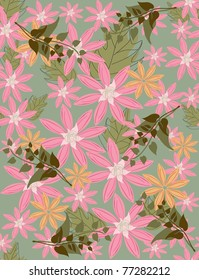 Beautiful seamless pattern floral fill a contour