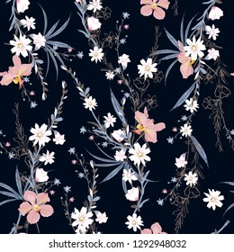 Beautiful  seamless pattern of garden many kind of botanical plants,flowers,orchid ,floral design for fashion,fabric,wallpaper,web and all prints on navy blue  background color