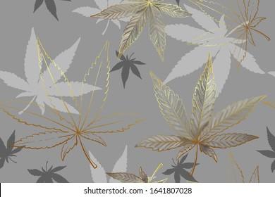 Beautiful seamless pattern of gold cannabis leaves. Pattern of gray or silver metallic marijuana leaf.