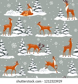 Beautiful seamless pattern with gorgeous cartoon deers. Winter background for Christmas or New Year design. Vector illustration