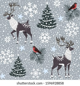 Beautiful seamless pattern with gorgeous cartoon north reindeers. Winter background for Christmas or New Year design. Vector illustration