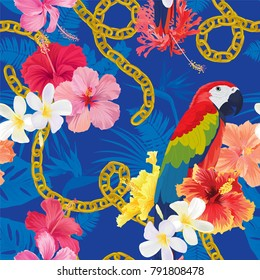 Beautiful seamless pattern with hibiscus flowers and macaw on blue background. Vector set of blooming tropical floral for wedding invitations, greeting card and fashion design.