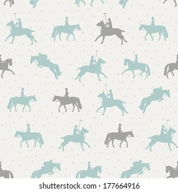 Beautiful seamless pattern with horse silhouettes. Perfect dressage event texture made in orange, yellow and blue colors on beige background. Animal texture drawn in vector.