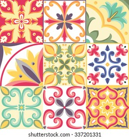 Beautiful seamless pattern in Italian style. Vector bright background