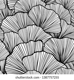 Beautiful Seamless pattern with leaves or with abstract shrubs in black white colors for wallpaper or for  textile  fashion drapery clothes or for decoration package or other things