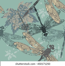 Beautiful seamless pattern with maple leaf and dragonflies can be used for design fabric, wallpaper, cover, and more designs. Vector image.