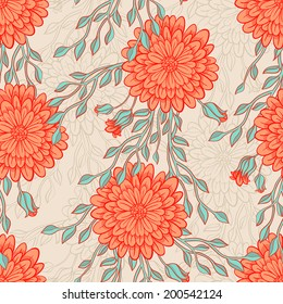 Beautiful seamless pattern with orange flowers and buds. vector illustration