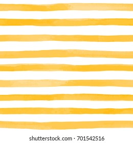 Beautiful seamless pattern with Orange yellow watercolor stripes. hand painted brush strokes, striped background. Vector illustration.