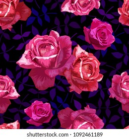 Beautiful seamless pattern with pink, red roses  on a   dark background with leaves.Summer Vector illustration .Print for book covers, textile,fabric,wrapping gift paper