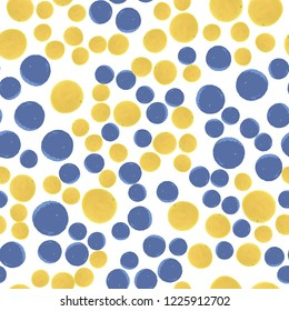 Beautiful Seamless pattern polka dots blue and yellow colors. Vector. Elements are not cropped. Pattern under the mask. Perfect design for posters, cards, textile, web etc.