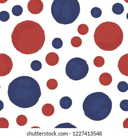 Beautiful Seamless pattern polka dots blue and red colors. Vector. Elements are not cropped. Pattern under the mask. Perfect design for posters, cards, textile, web etc.
