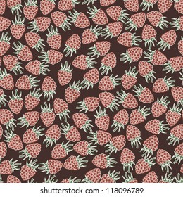 Beautiful seamless pattern with raspberries. Seamless pattern can be used for textiles, wrapping paper, wallpaper, pattern fills, web page background, surface textures.