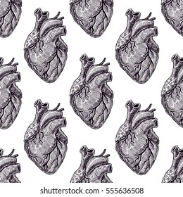 beautiful seamless pattern of realistic black hearts on a white background. hand-drawn illustration