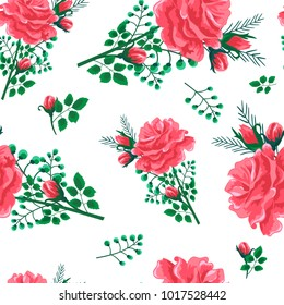 Beautiful seamless pattern with red roses on a white background.Vector illustration in the style of shabby chic.Print for book covers, textile,fabric,wrapping gift paper,scrapbooking,decoupage.