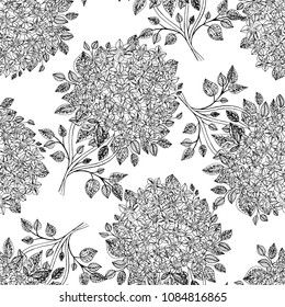 Beautiful seamless pattern with Rhododendron flowers . Vector illustration. EPS 10